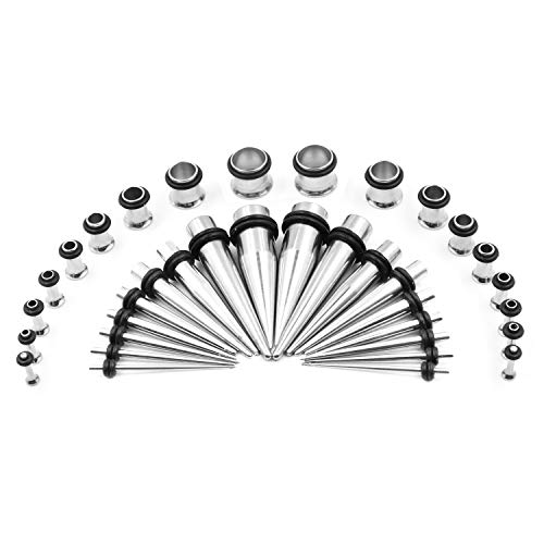 36PCS Ear Gauge Stretching Kit - 14G-00G Stainless Steel Tapers and Plugs Set Eyelets Body Piercing Jewelry