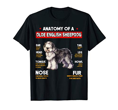 Anatomy Of A Olde English Sheepdog Dogs Lovers T Shirt