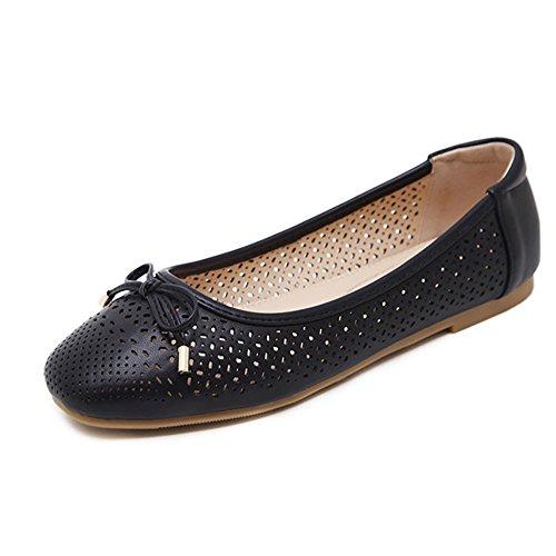 Meeshine Women Dress Soft Bow Cut Perforated Slip On Ballerina Flat Shoes (8 B(M) US, (Summer Ballerina)