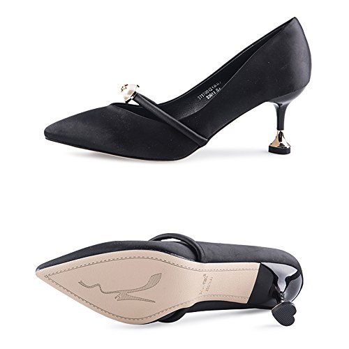 Feifei Women's Shoes Summer Black Green High-Heeled 6.5CM Comfortable Shallow Mouth Pointed Single Shoes High-Heeled Shoes Black c8Sg2E