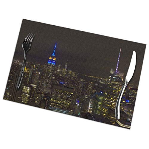 SanzamKJ Empire State Building in EU Colours Placemats Anti-Skid Insulation Stain Resistant Washable Polyester Table Mats, Set of 6 ()