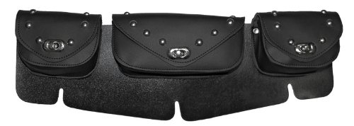 Windshield Bag - Vance Leather 3 Compartment Studded Windshield Bag