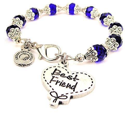 (ChubbyChicoCharms Best Friend Quilted Heart Scroll Capped Crystal Bracelet in Sapphire Blue)