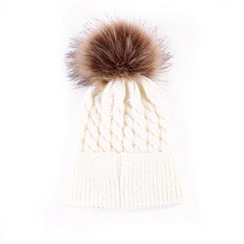 Perman Newborn Cute Winter Kids Baby Hats Knitted Wool Hemming Hat (0-36 Months, White)