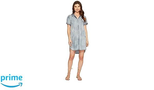 Michael Stars Womens Linen Denim Tencel Short Sleeve Shirt Dress