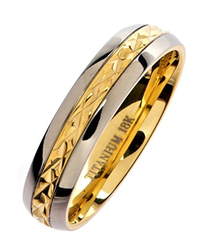 MJ Metals Jewelry 5mm 18K Gold Plated Wedding Ring Grade 5 Titanium Band Comfort Fit Ring