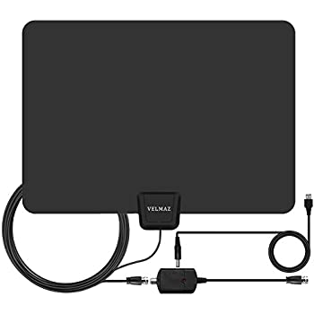 TV Antenna, Indoor Amplified Digital HDTV Antenna, 50 Mile Range With Detachable Amplifier Signal Booster For 1080P High Reception, USB Power Supply And 13.2' Coaxial Cable - Black