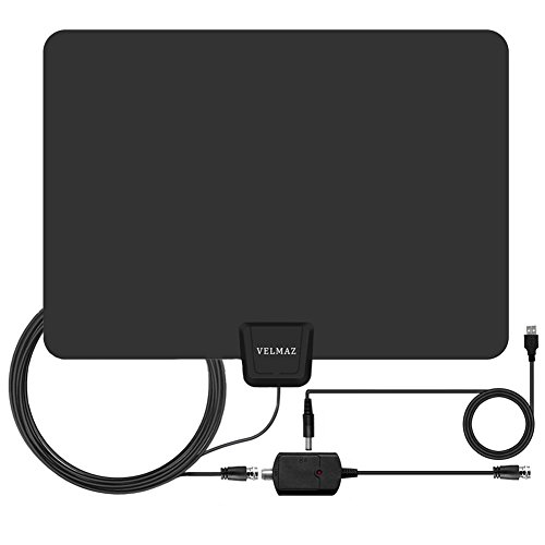 TV Antenna, Indoor Amplified Digital HDTV Antenna, 50 Mile Range With Detachable Amplifier Signal Booster For 1080P High Reception, USB Power Supply And 13.2 Coaxial Cable - Black