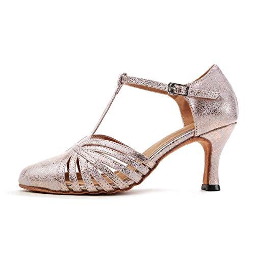 colore Scarpe Moda Pompe Donna Qiusa 7 strap Gl259 Gold Latino 5cm 5 Ballo Heel 5 5cm Ballroom Da Dimensione T Heel Partito Sintetica Uk Pink xCOIAq