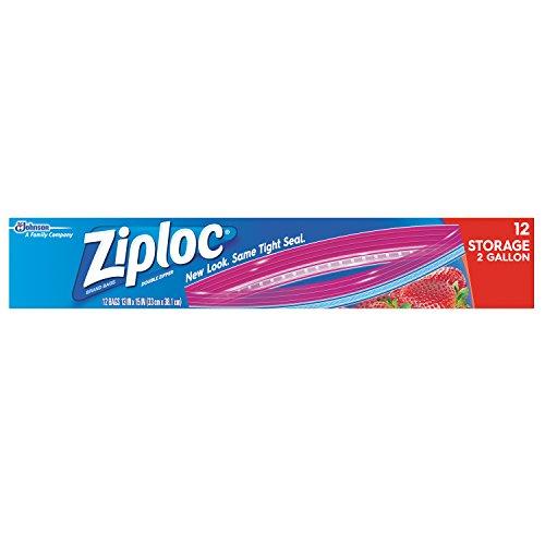 Ziploc Double Zipper Storage Bag, 2 Gallon Jumbo, 12-Count(Pack of -