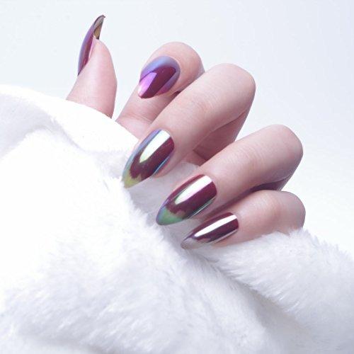 24pcs 12 diferentes tamaño Chameleon cromo Magic efecto espejo reflexión Stiletto Media funda de Full diseño de puntas de uñas postizas con: Amazon.es: ...