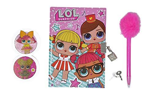 LOL Surprise Journal Diary para niñas con cerradura y llave, bolígrafo rosa y tarjeta