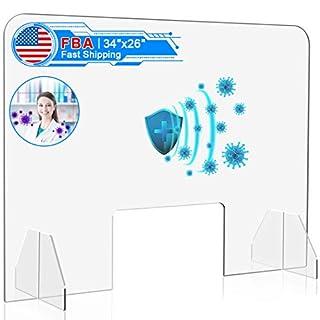 IDJWVU Plexiglass Sneeze Guard 34''W x 26''H Countertop Shield Portable Plastic Acrylic Cough Protection Barrier Employee Cashier Transaction Safety