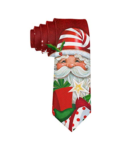 Men Novelty Neckties Suit Accessories - Happy Christmas Gif Santa Claus Candy Tie for Weeding Prom Reception, -