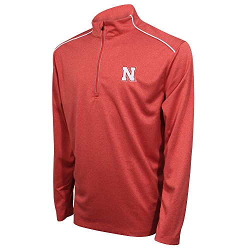 Cornhuskers Men's Quarter Zip with Shoulder Piping Polo, Large, Red/White ()