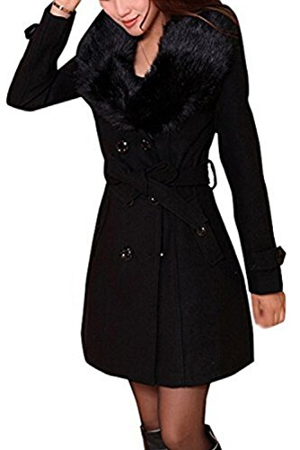 Dongba Women's Thick Trench Coat Faux Fur Lapel Collar Overwear Double Breasted Slim Pea (Faux Fur Belted Coat)
