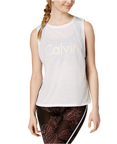 Calvin Klein Women's Performance Racing-Stripe Cropped Tank Top (White, X-Small)
