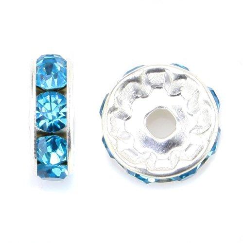 RUBYCA 100pcs Round Rondelle Spacer Charm Bead 5mm Silver Tone Aquamarine Blue Czech Crystal DIY