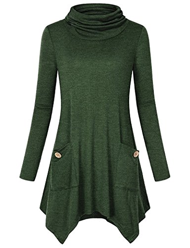 ZJFZML Ruched Tunic, Female Cowl Neck Long Sleeve Trendy Fashion Casual Wear Knit Pullover Sweatshirts Flared Swing Cute Casual Shirts and Blouse Workout Full Tops Green XL -