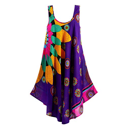 FONMA Women Summer Round Neck Sleeveless Boho Dress Printed Beach Dress Purple