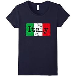 Womens Italy t-shirt Vintage Distressed Italian Flag tee Large Navy