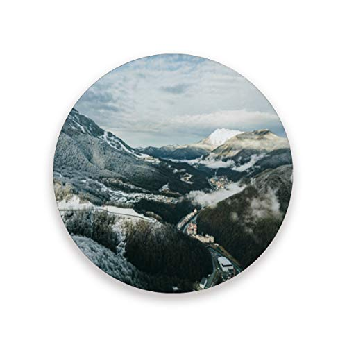 Coasters Wallpaper Alpine Alps Round Cup Mat for Drink Cup Pad for Home/Office/Kitchen/Bar Set of ()