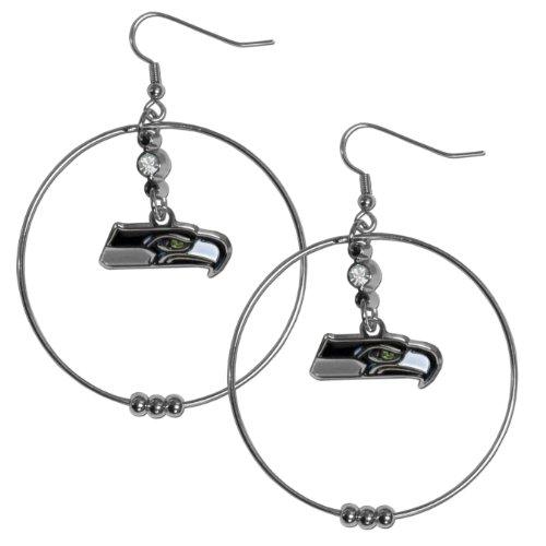 Nfl Earrings Hoop - NFL Seattle Seahawks Hoop Earrings, 2-Inch