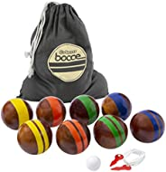 GoSports 100mm Hardwood Bocce Set with 8 Premium 12oz Wood Balls, Pallino, Case and Measuring Rope