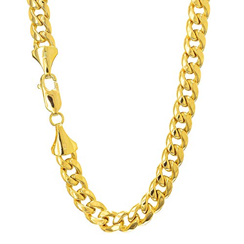 14k Semi-Solid Yellow Gold 6.5mm Lite Miami Cuban Link Chain Bracelet, Lobster Claw-8.5 Inches