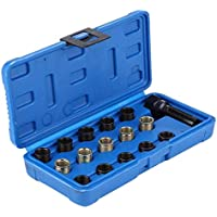 Nrpfell 16Pcs Professional 14mm X 1.25 Car Spark-Plug Thread Repair Tool Kit with Case