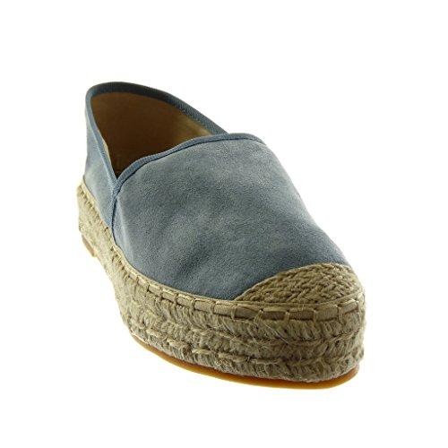 Donna 3 Moda A Tacco 5 Cm Blu Espadrillas Slip Blocco on Scarpe Corda Angkorly qTZvw5XwW