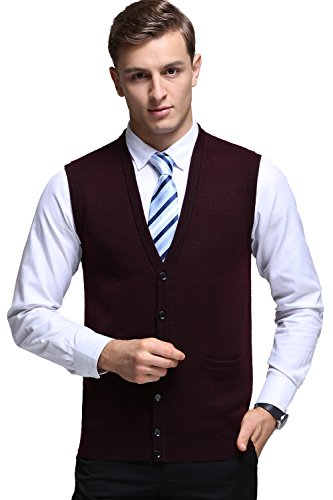 - Kinlonsair Mens Slim Fit Ribbed Knit Cardigan Sweater Vest with Pockets (Large, ZKSM852-burgundy)