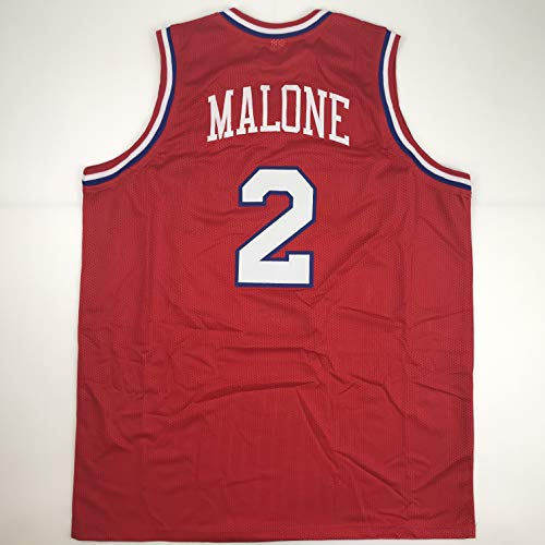(Unsigned Moses Malone Philadelphia Red Custom Stitched Basketball Jersey Size Men's XL New No Brands/Logos)