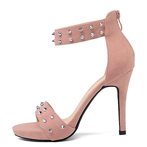 Con Con De Alto 10 De Sandalias Rosa Con De Remaches Campo Mujeres Recopilación Zapatos GAOLIM Verano Bellas Cm vpSXw