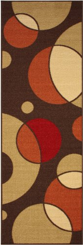 Rubber Collection Circles Brown Printed Slip Resistant Rubber Back Latex Contemporary Modern Area Rugs and Runners (1008) (2x5 (20