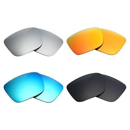 Mryok 4 Pair Polarized Replacement Lenses for Spy Optic Helm Sunglass - Stealth Black/Fire Red/Ice Blue/Silver - Spy Blue Helm