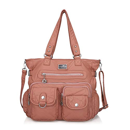 Angelkiss Women's Soft Leather Handbags and Purses Casual Pockets Shoulder Bag Top-handle Tote Bags with Zipper (Pink-2)