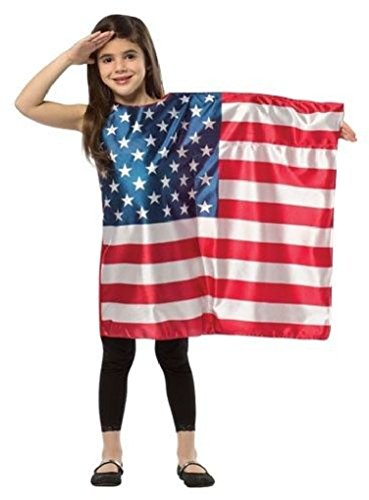 Ponce Girls USA Flag Dress Red White Blue Dress July 4th Tunic Stars Kids (Usa Flag Adult Tunic Costume)