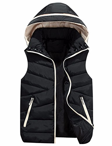 Black Jacket EMMA Cotton Down Hooded Outwear High Zip Vest Padded Quilt Gilet Women's Sleeveless Neck qUnwqR76