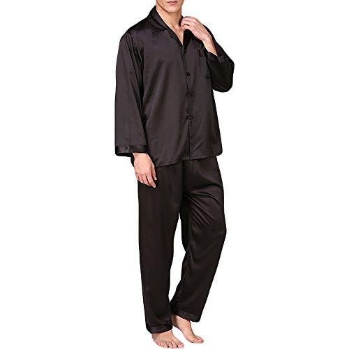 MAGE MALE Mens Silk Satin Pajama Set Sleepwear Nightclothes Casual Loungewear PJ Set