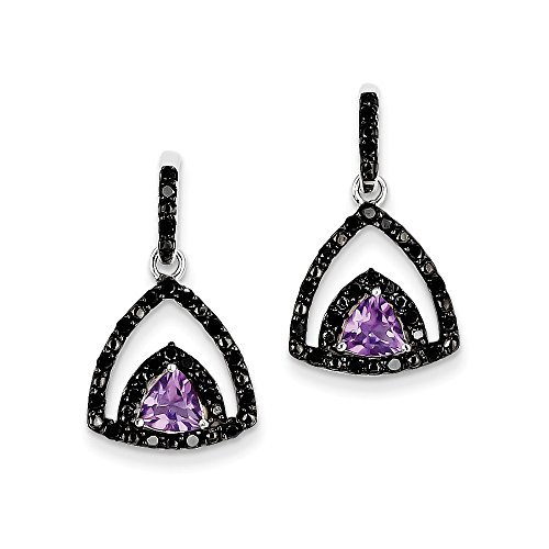 Sterling Silver Amethyst and Black Diamond Earrings by CoutureJewelers