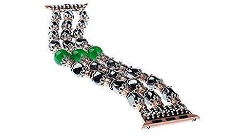Swiftbiztrading Beaded Jewelry Stone Compatible with iWatch Band Fashion Handmade Elastic Stretch Faux Bracelet Replacement for Apple Watch for Series 1, Series 2, Series 3 (Green Jade 42 mm) (38 MM) - Beaded Stretch Watch