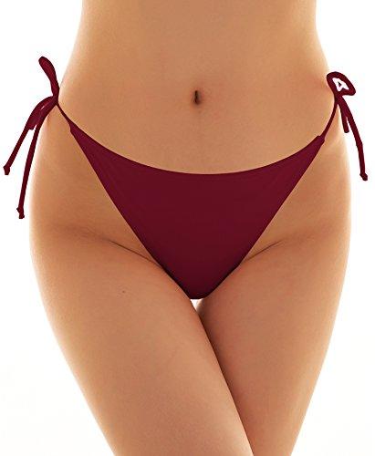 1f433dae9c4de SHEKINI Womens Brazilian Low Rise Tie-Side Ruched Back Thong Bikini Bottom  Swim Brief