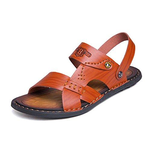 ShangYi Summer men's fashion casual soft bottom non-slip sandals outdoor beach shoes cool drag tide Brown