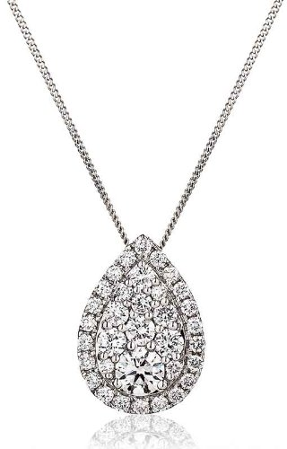 0.80CT Certified G/VS2 Round Brilliant Cut Cluster Pear Shape Sliding Diamond Pendant in 18K White Gold