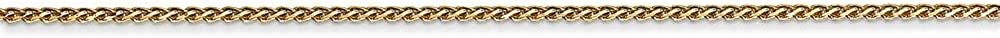 Roy Rose Jewelry 14K Yellow Gold 1mm Solid Diamond-cut Spiga Chain Anklet Bracelet ~ Length 10 inches