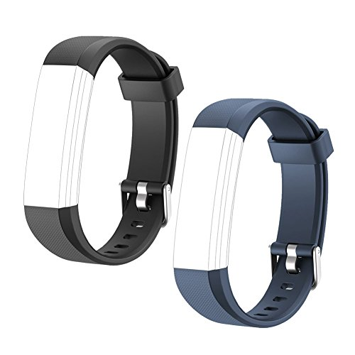 LETSCOM Replacement Bands for Fitness Tracker ID115U or ID115UHR, 2 Pack (Black, Blue) (Sync Fitness Band)