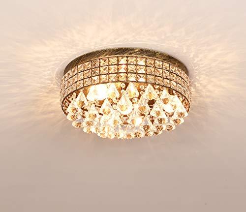 French Empire Antique Bronze 5 light Crystal Chandelier Ceiling Pendant Lighting Fixture Lamp for dining room, Living room, Foyer, Lobby, Hallway (Flush Mount)