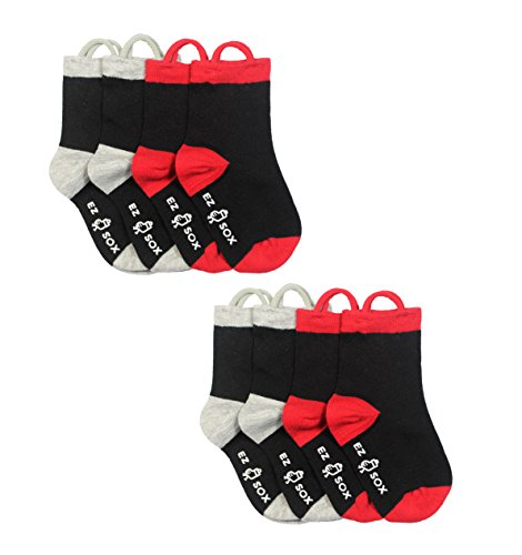 Black 02 Machine - Ez Sox Toddler Boys Socks Non Skid Anti Slip Grip Seamless Toe Pull Up Loops (Large, Black)