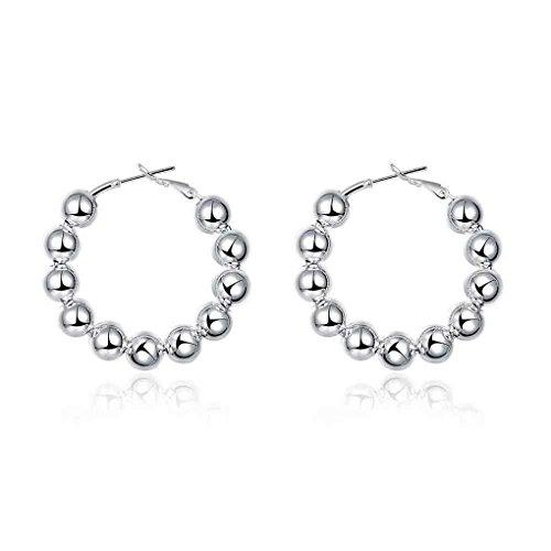 fonk: 8MM Bead hoop Earings silver plated earrings for women silver plated earrings SMTE188
